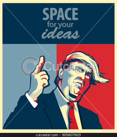 Cartoon Portrait of Donald Trump Giving A Speech stock vector clipart, Cartoon Portrait of Donald Trump Giving A Speech. Hope poster. Vector Illustration EPS10 by Igor Samoilik