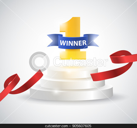 Winner background with red ribbon, on round pedestal isolated on white. Poster or brochure template stock vector clipart, Winner background with red ribbon, on round pedestal isolated on white. Poster or brochure template. Vector illustration by Igor Samoilik
