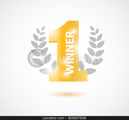 Winner, number one background with olive branch and confetti on white stock vector clipart, Winner, number one background with olive branch and confetti on white. Vector illustration by Igor Samoilik