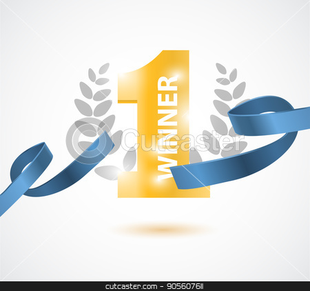 Winner, number one background with blue ribbon, olive branch and confetti on white stock vector clipart, Winner, number one background with blue ribbon, olive branch and confetti on white. Vector illustration by Igor Samoilik