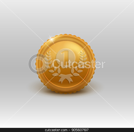 Gold medal for first place. Vector illustration stock vector clipart, Gold medal for first place. Vector illustration EPS 10 by Igor Samoilik