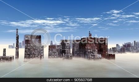 Birdseye view of the future city 3D render stock photo, Birdseye view of the future city 3D render by Dariusz Miszkiel