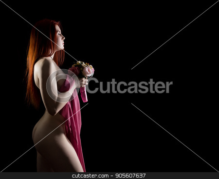 beautiful redhead nude girl holding flowers on a dark background. Free space for text stock photo, beautiful redhead nude girl holding flowers on a dark background. Free space for text. by Alexander