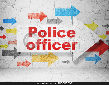 Law concept: arrow with Police Officer on grunge wall background stock photo, Law concept:  arrow with Police Officer on grunge textured concrete wall background, 3D rendering by mkabakov