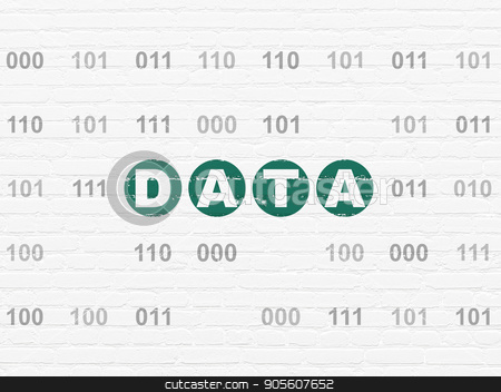Data concept: Data on wall background stock photo, Data concept: Painted green text Data on White Brick wall background with Binary Code by mkabakov