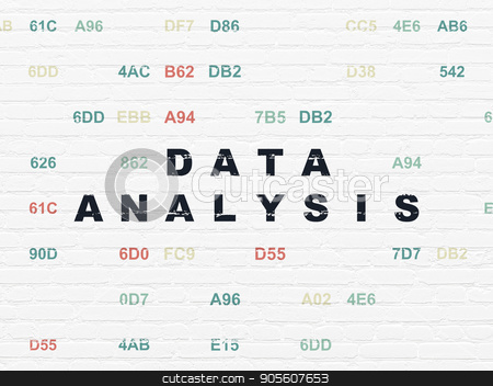Data concept: Data Analysis on wall background stock photo, Data concept: Painted black text Data Analysis on White Brick wall background with Hexadecimal Code by mkabakov