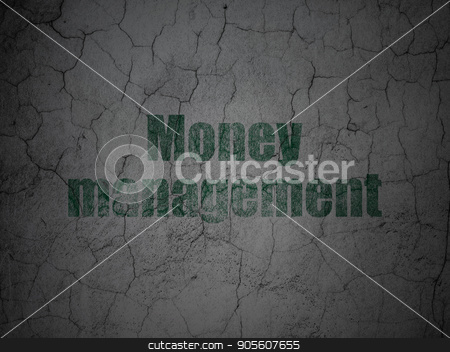 Currency concept: Money Management on grunge wall background stock photo, Currency concept: Green Money Management on grunge textured concrete wall background by mkabakov