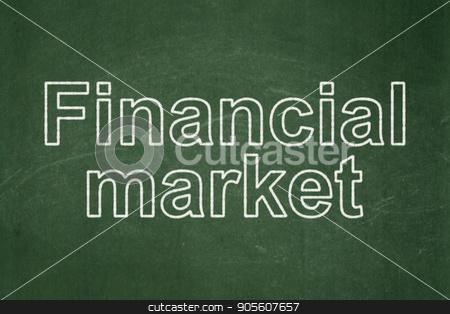 Money concept: Financial Market on chalkboard background stock photo, Money concept: text Financial Market on Green chalkboard background by mkabakov