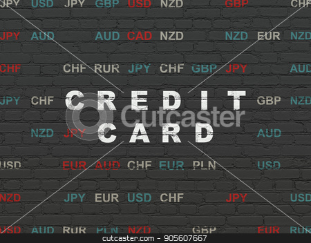 Banking concept: Credit Card on wall background stock photo, Banking concept: Painted white text Credit Card on Black Brick wall background with Currency by mkabakov