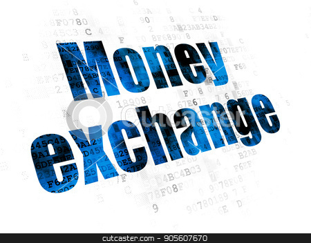 Money concept: Money Exchange on Digital background stock photo, Money concept: Pixelated blue text Money Exchange on Digital background by mkabakov