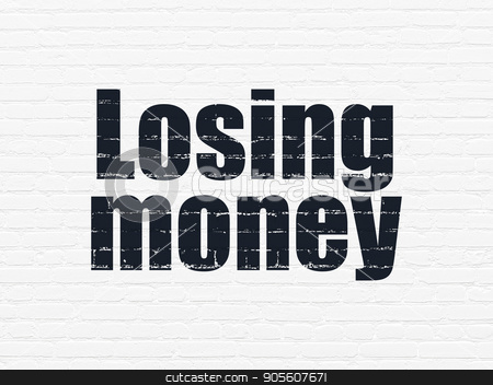 Currency concept: Losing Money on wall background stock photo, Currency concept: Painted black text Losing Money on White Brick wall background by mkabakov