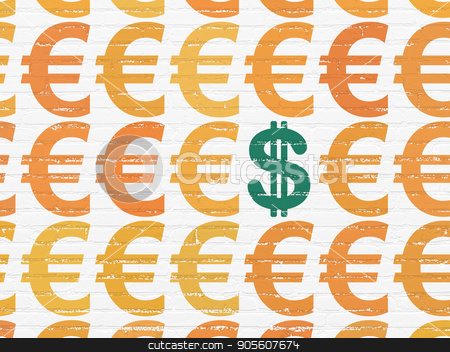 Currency concept: dollar icon on wall background stock photo, Currency concept: rows of Painted orange euro icons around green dollar icon on White Brick wall background by mkabakov