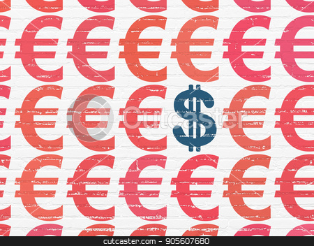 Banking concept: dollar icon on wall background stock photo, Banking concept: rows of Painted red euro icons around blue dollar icon on White Brick wall background by mkabakov