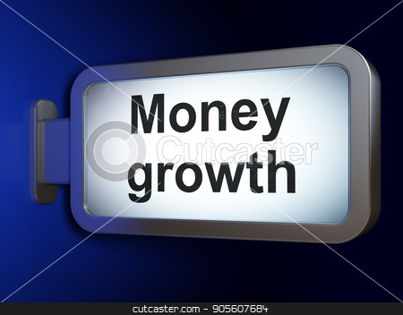 Currency concept: Money Growth on billboard background stock photo, Currency concept: Money Growth on advertising billboard background, 3D rendering by mkabakov