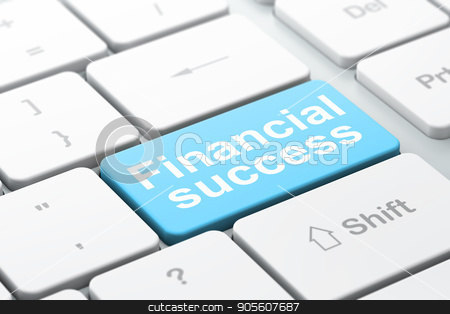 Money concept: Financial Success on computer keyboard background stock photo, Money concept: computer keyboard with word Financial Success, selected focus on enter button background, 3D rendering by mkabakov