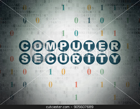 Privacy concept: Computer Security on Digital Data Paper background stock photo, Privacy concept: Painted blue text Computer Security on Digital Data Paper background with Binary Code by mkabakov