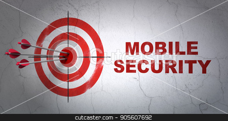 Privacy concept: target and Mobile Security on wall background stock photo, Success privacy concept: arrows hitting the center of target, Red Mobile Security on wall background, 3D rendering by mkabakov