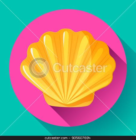 gold sea shell flat vector logo Seafood flat icon stock vector clipart, gold Sea shell icon vector shell logo template. Seafood flat icon by MarySan