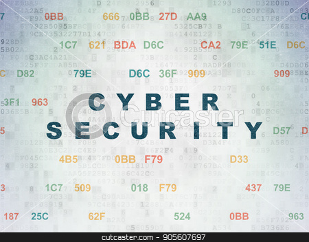 Protection concept: Cyber Security on Digital Data Paper background stock photo, Protection concept: Painted blue text Cyber Security on Digital Data Paper background with Hexadecimal Code by mkabakov