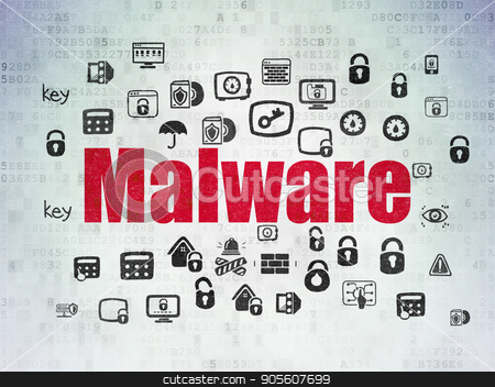 Protection concept: Malware on Digital Data Paper background stock photo, Protection concept: Painted red text Malware on Digital Data Paper background with  Hand Drawn Security Icons by mkabakov