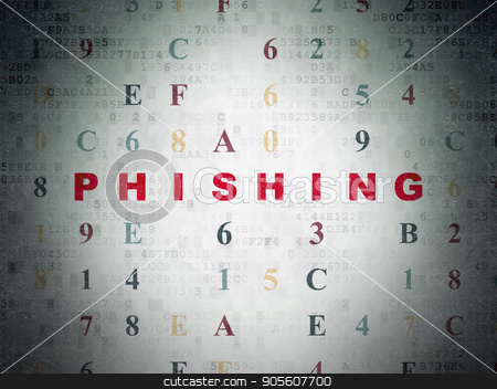 Safety concept: Phishing on Digital Data Paper background stock photo, Safety concept: Painted red text Phishing on Digital Data Paper background with Hexadecimal Code by mkabakov