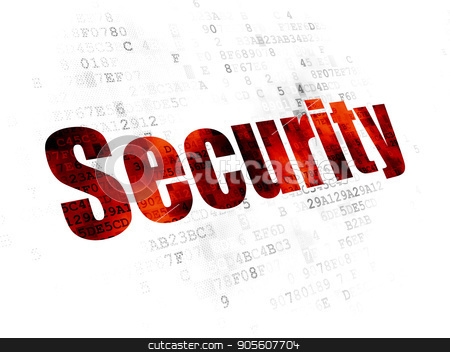 Protection concept: Security on Digital background stock photo, Protection concept: Pixelated red text Security on Digital background by mkabakov