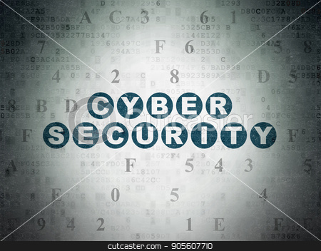 Security concept: Cyber Security on Digital Data Paper background stock photo, Security concept: Painted blue text Cyber Security on Digital Data Paper background with Hexadecimal Code by mkabakov