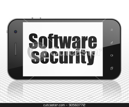 Privacy concept: Smartphone with Software Security on display stock photo, Privacy concept: Smartphone with black text Software Security on display, 3D rendering by mkabakov