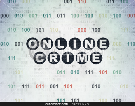 Security concept: Online Crime on Digital Data Paper background stock photo, Security concept: Painted black text Online Crime on Digital Data Paper background with Binary Code by mkabakov