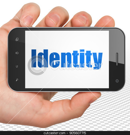 Security concept: Hand Holding Smartphone with Identity on display stock photo, Security concept: Hand Holding Smartphone with blue text Identity on display, 3D rendering by mkabakov