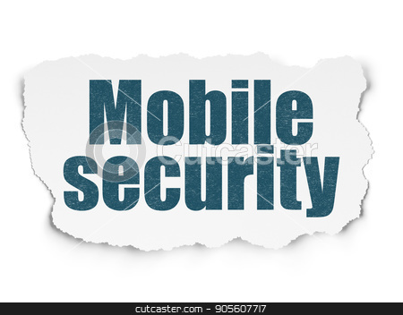 Protection concept: Mobile Security on Torn Paper background stock photo, Protection concept: Painted blue text Mobile Security on Torn Paper background with  Binary Code by mkabakov