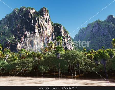 Palms on the tropical beach 3d rendering stock photo, Palm trees and tropical beach by Dariusz Miszkiel