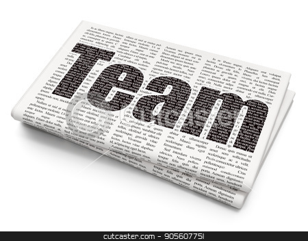 Finance concept: Team on Newspaper background stock photo, Finance concept: Pixelated black text Team on Newspaper background, 3D rendering by mkabakov