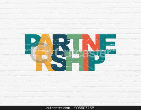 Business concept: Partnership on wall background stock photo, Business concept: Painted multicolor text Partnership on White Brick wall background by mkabakov