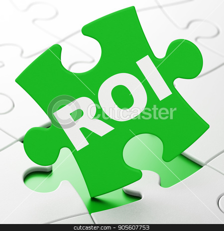 Finance concept: ROI on puzzle background stock photo, Finance concept: ROI on Green puzzle pieces background, 3D rendering by mkabakov