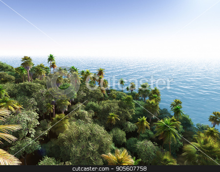 Palms on the tropical beach 3d rendering stock photo, Palm trees and tropical beach by Dariusz Miszkiel