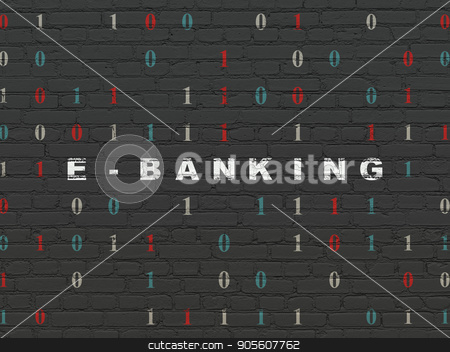 Finance concept: E-Banking on wall background stock photo, Finance concept: Painted white text E-Banking on Black Brick wall background with Binary Code by mkabakov