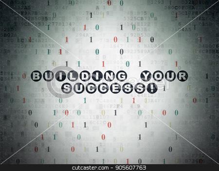 Finance concept: Building your Success! on Digital Data Paper background stock photo, Finance concept: Painted black text Building your Success! on Digital Data Paper background with Binary Code by mkabakov