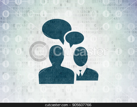 Business concept: Business Meeting on Digital Data Paper background stock photo, Business concept: Painted blue Business Meeting icon on Digital Data Paper background with Scheme Of Binary Code by mkabakov