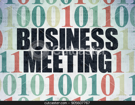 Business concept: Business Meeting on Digital Data Paper background stock photo, Business concept: Painted black text Business Meeting on Digital Data Paper background with Binary Code by mkabakov
