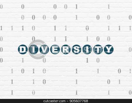 Business concept: Diversity on wall background stock photo, Business concept: Painted blue text Diversity on White Brick wall background with Binary Code by mkabakov