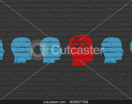 Business concept: head with finance symbol icon on wall background stock photo, Business concept: row of Painted blue head icons around red head with finance symbol icon on Black Brick wall background by mkabakov