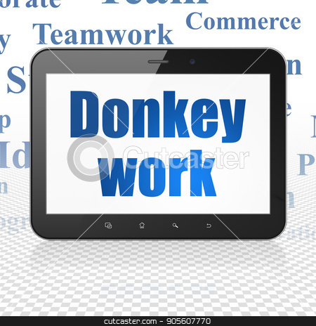 Business concept: Tablet Computer with Donkey Work on display stock photo, Business concept: Tablet Computer with  blue text Donkey Work on display,  Tag Cloud background, 3D rendering by mkabakov