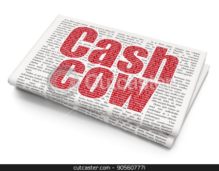 Business concept: Cash Cow on Newspaper background stock photo, Business concept: Pixelated red text Cash Cow on Newspaper background, 3D rendering by mkabakov