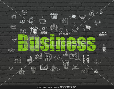 Business concept: Business on wall background stock photo, Business concept: Painted green text Business on Black Brick wall background with  Hand Drawn Business Icons by mkabakov