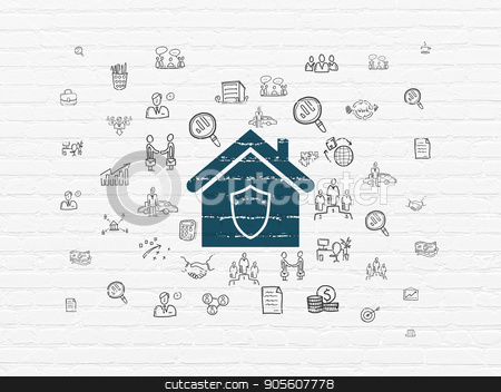 Finance concept: Home on wall background stock photo, Finance concept: Painted blue Home icon on White Brick wall background with  Hand Drawn Business Icons by mkabakov