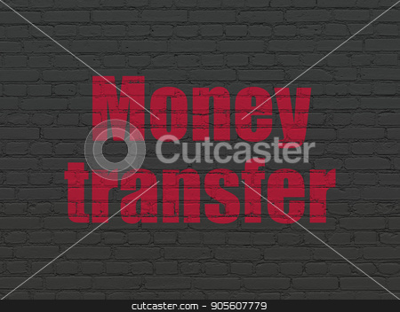 Business concept: Money Transfer on wall background stock photo, Business concept: Painted red text Money Transfer on Black Brick wall background by mkabakov