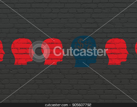 Business concept: head with finance symbol icon on wall background stock photo, Business concept: row of Painted red head icons around blue head with finance symbol icon on Black Brick wall background by mkabakov