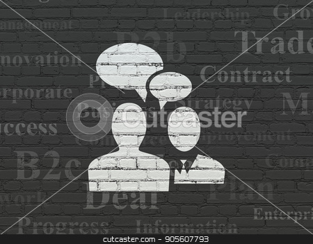 Business concept: Business Meeting on wall background stock photo, Business concept: Painted white Business Meeting icon on Black Brick wall background with  Tag Cloud by mkabakov