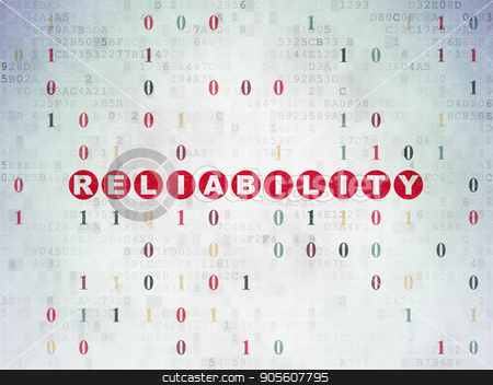 Business concept: Reliability on Digital Data Paper background stock photo, Business concept: Painted red text Reliability on Digital Data Paper background with Binary Code by mkabakov